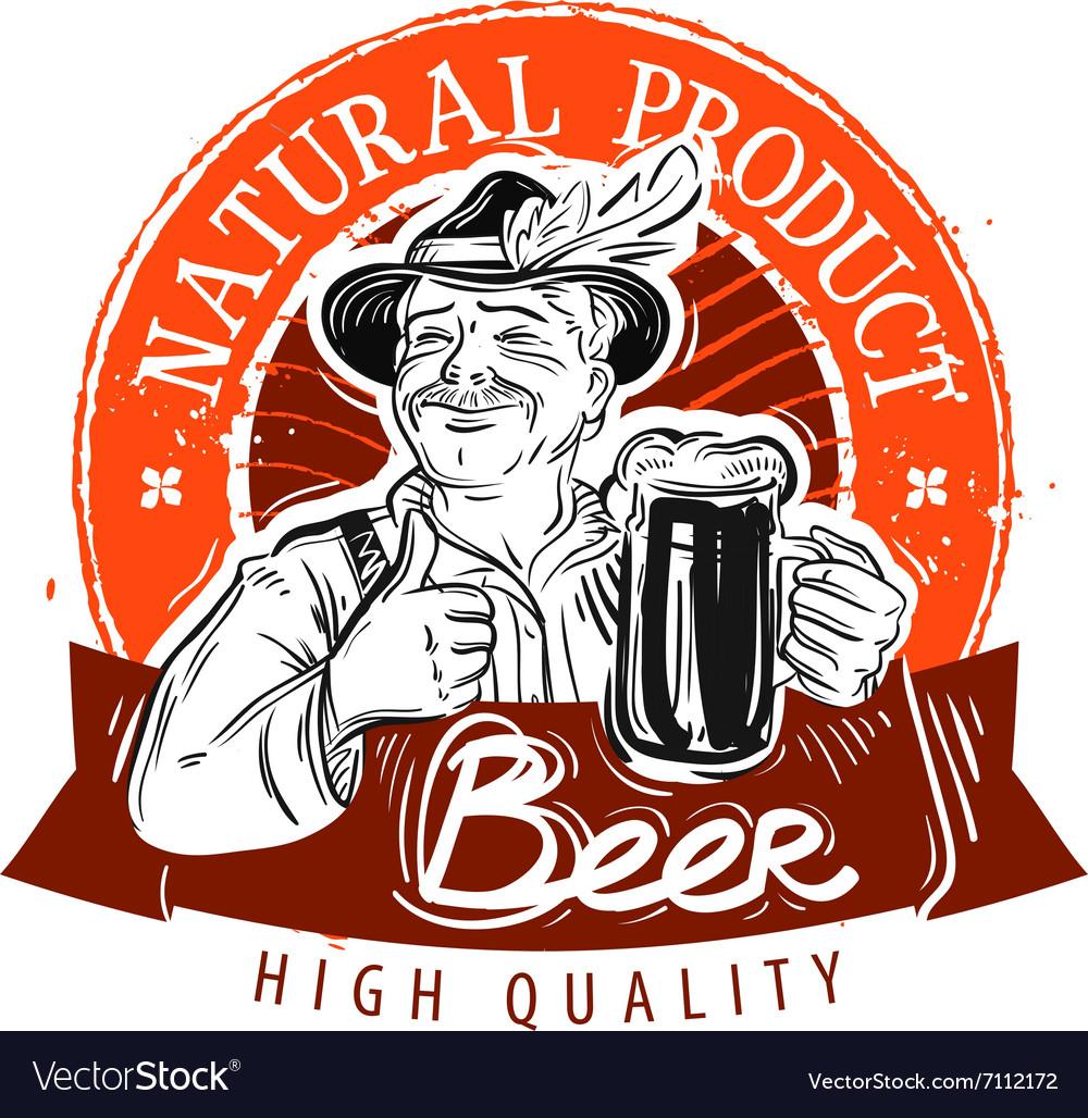Beer ale logo design template pub or Royalty Free Vector
