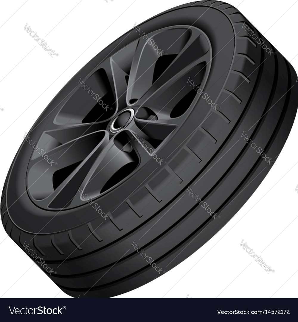Black alloy wheel isolated