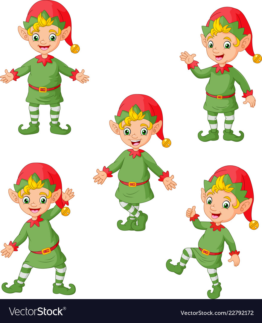 Cartoon Christmas Elves Collection Set Royalty Free Vector