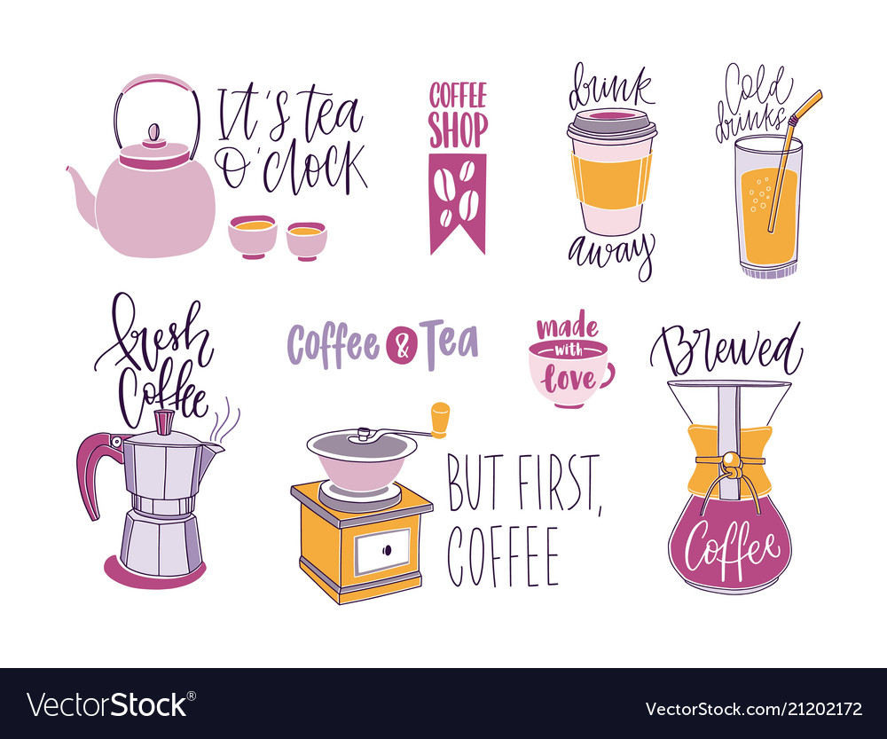 Collection of coffee and tea lettering isolated on