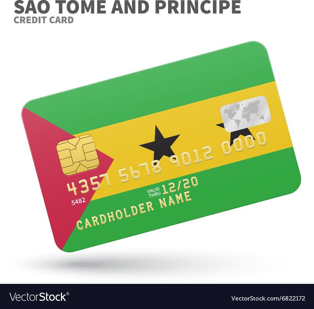 Credit card with Sao Tome and Principe flag vector image