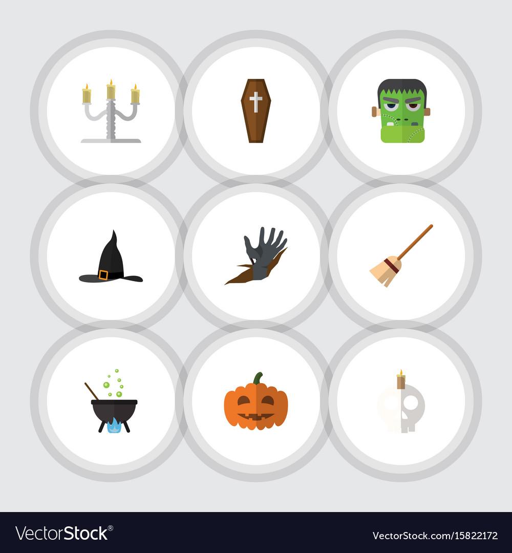 Flat icon halloween set of zombie cranium gourd vector image