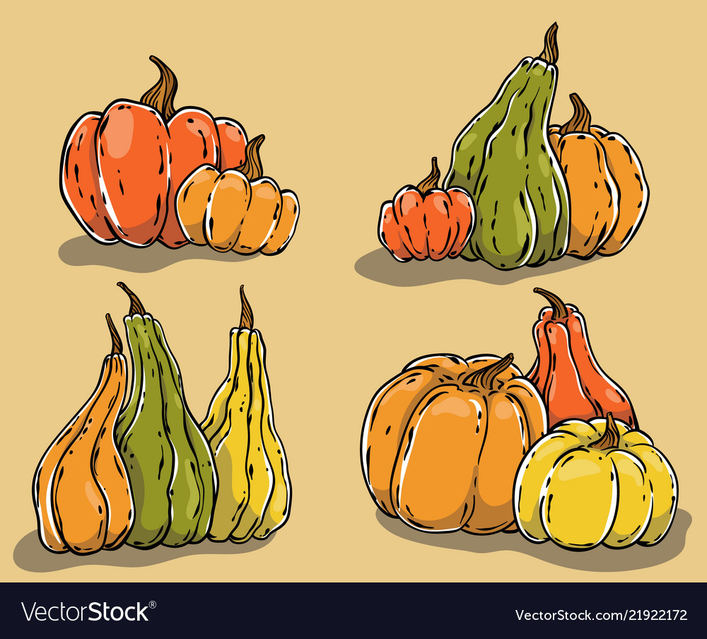 Hand drawn pumpkins set