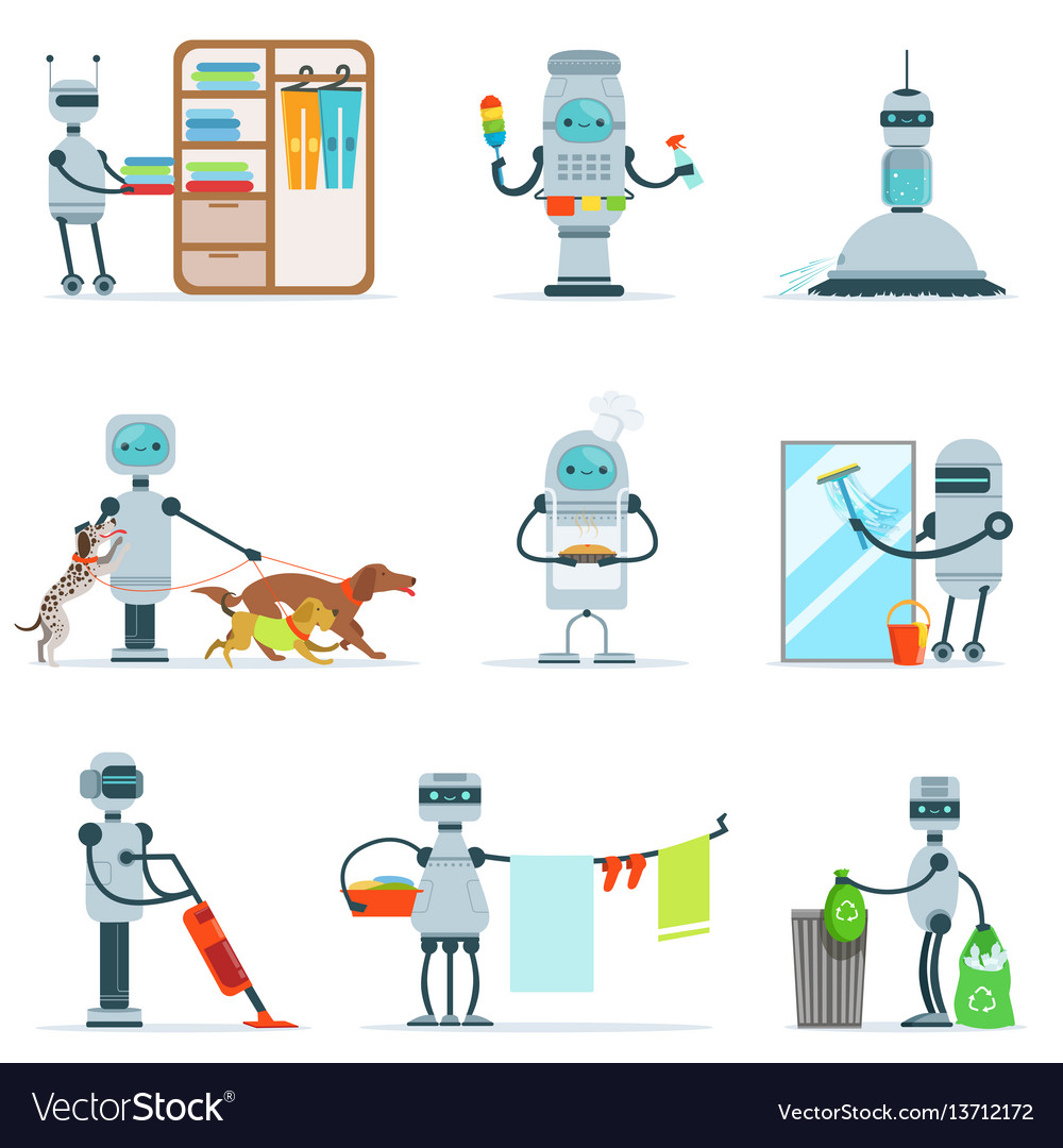 Housekeeping household robot doing home cleanup