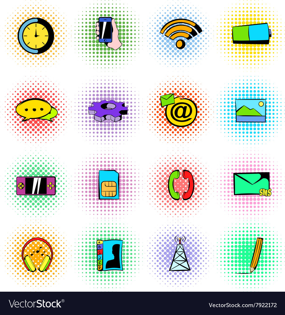 Mobile icons set comics style