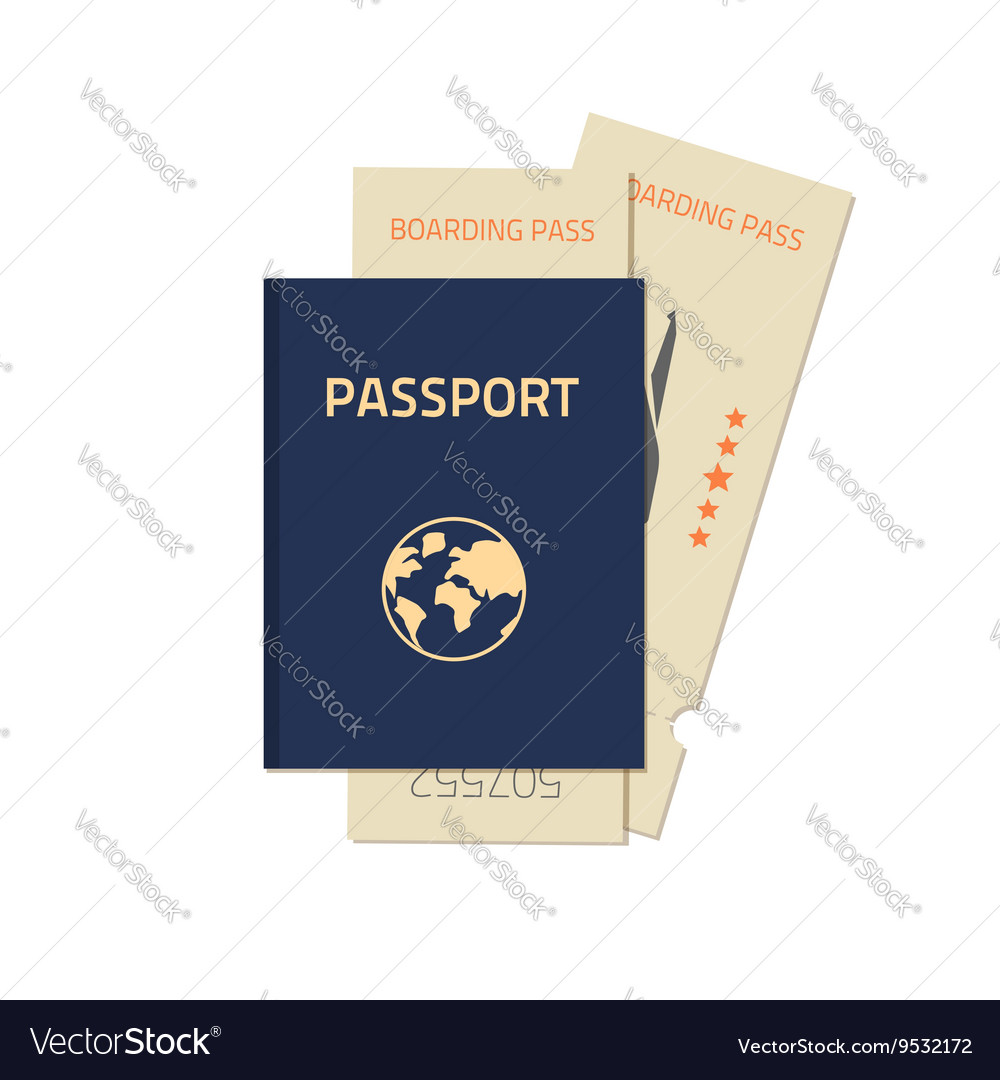 Passport with flight tickets