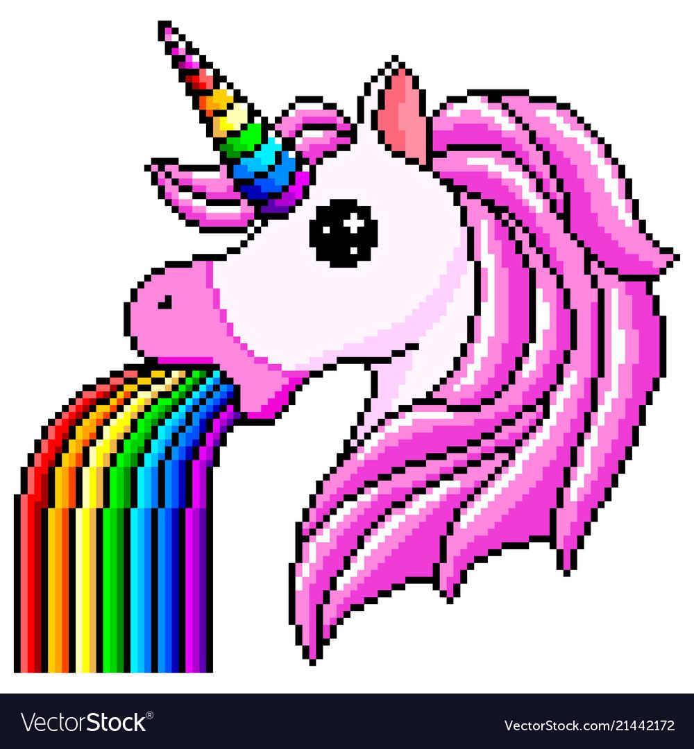 Pixel unicorn pukes rainbow isolated