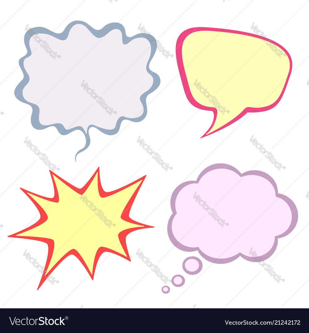 Set of colorful speech bubbles isolated on white