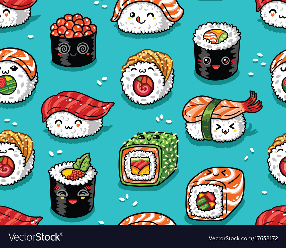 Sushi And Sashimi Seamless Pattern In Kawaii Style