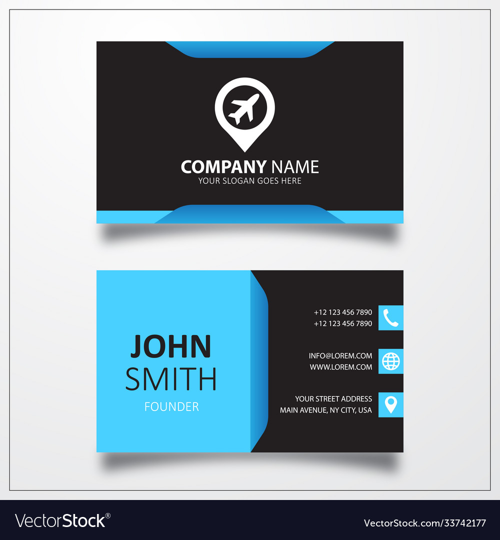Airport with pin icon business card template
