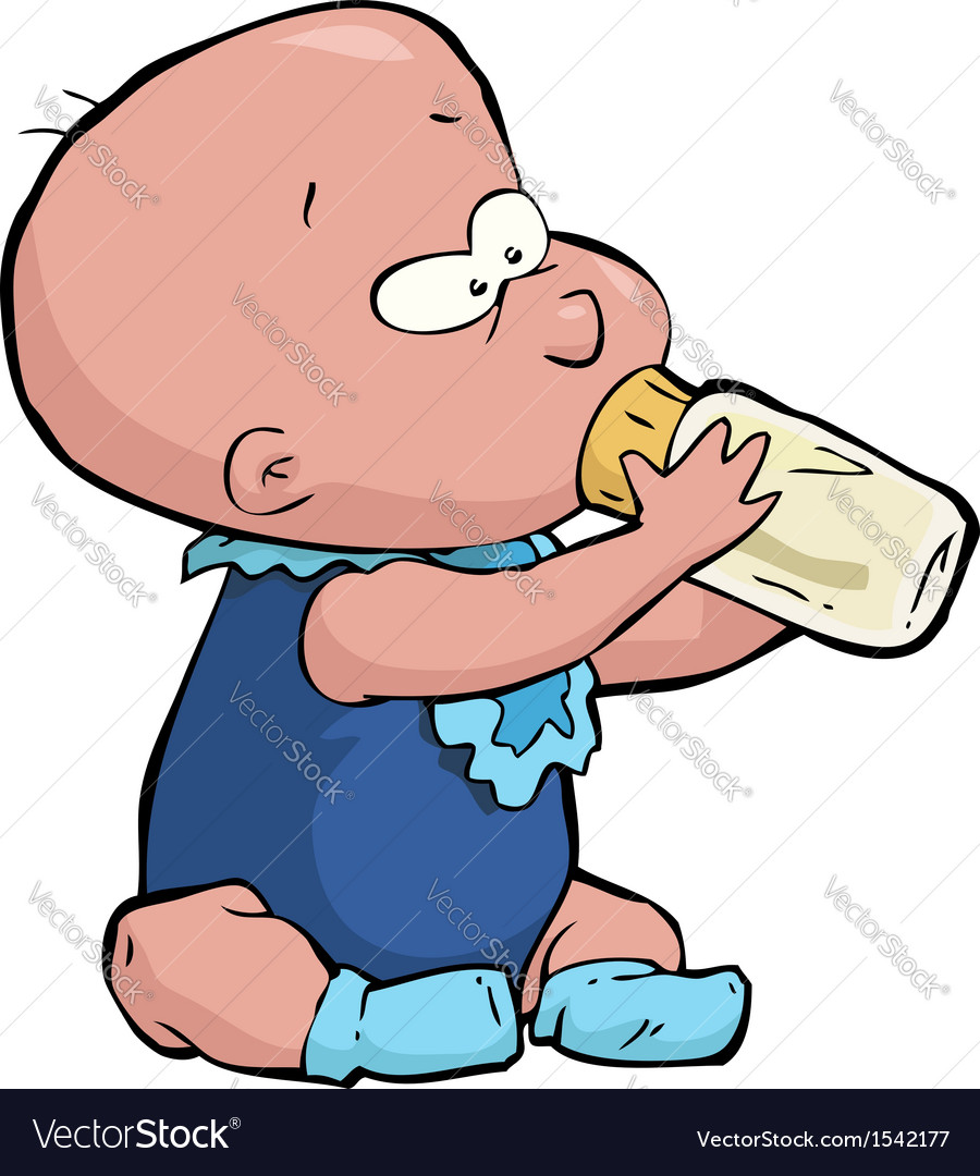 Baby with a bottle vector image