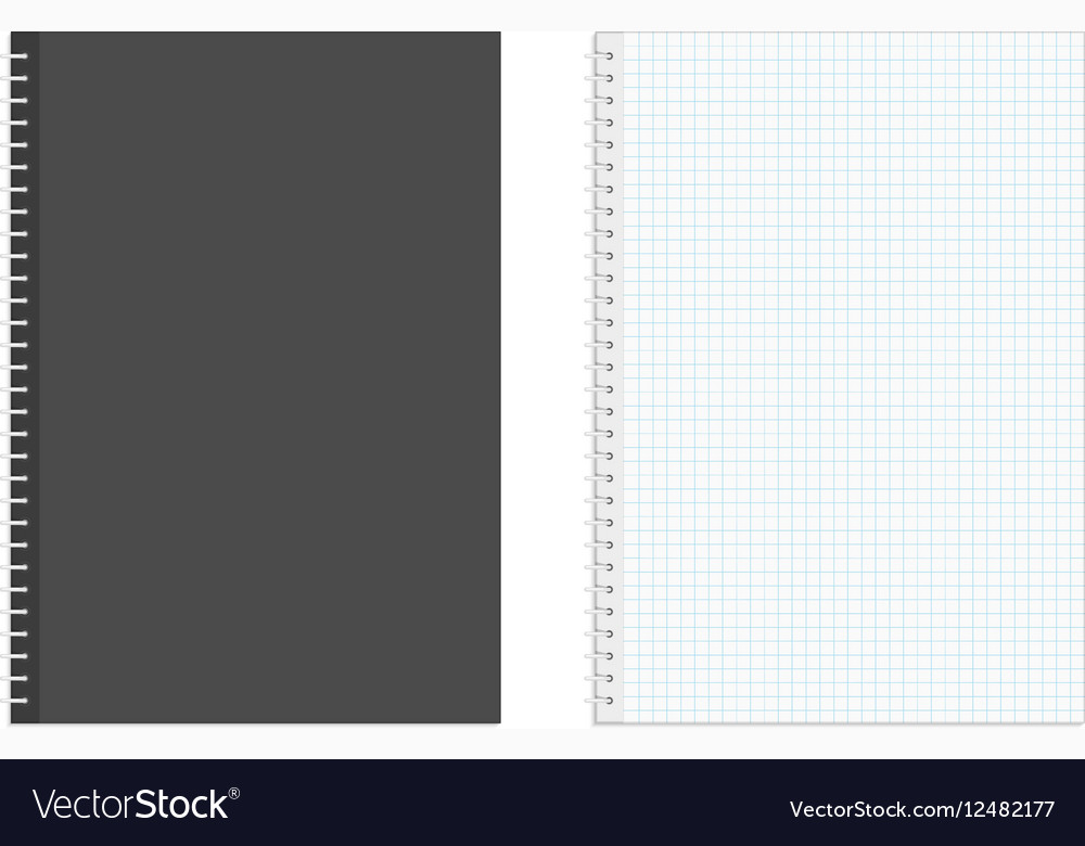 Blank realistic spiral squared notebook vector image