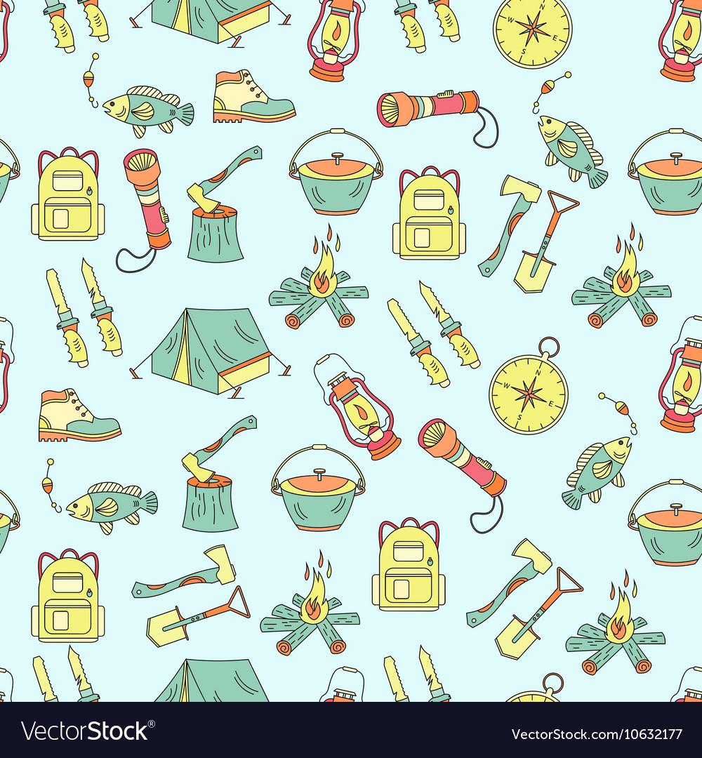 Camping holiday seamless pattern
