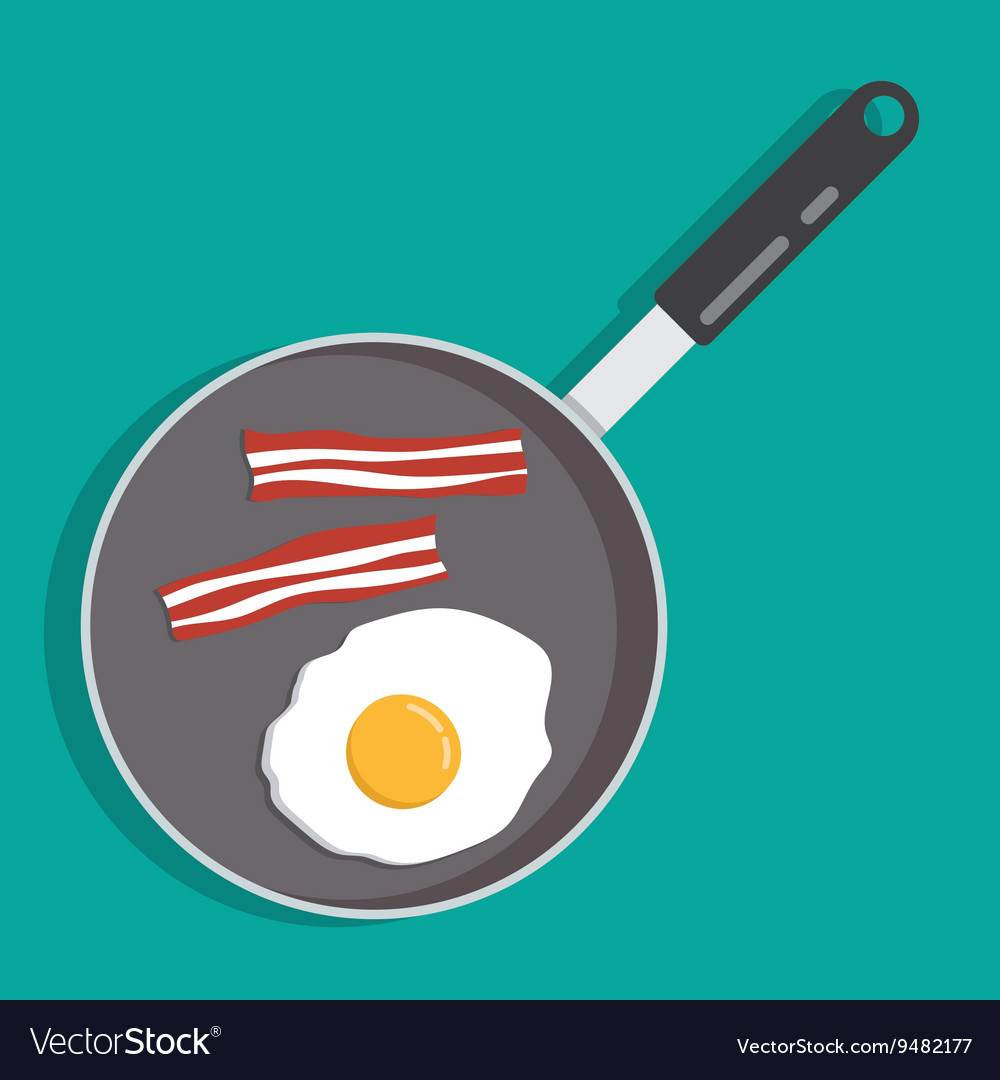 Eggs and bacon in a frying pan