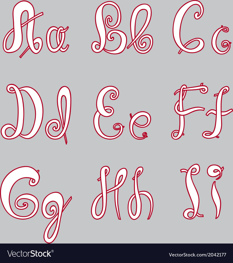 English hand-written alphabet vector image