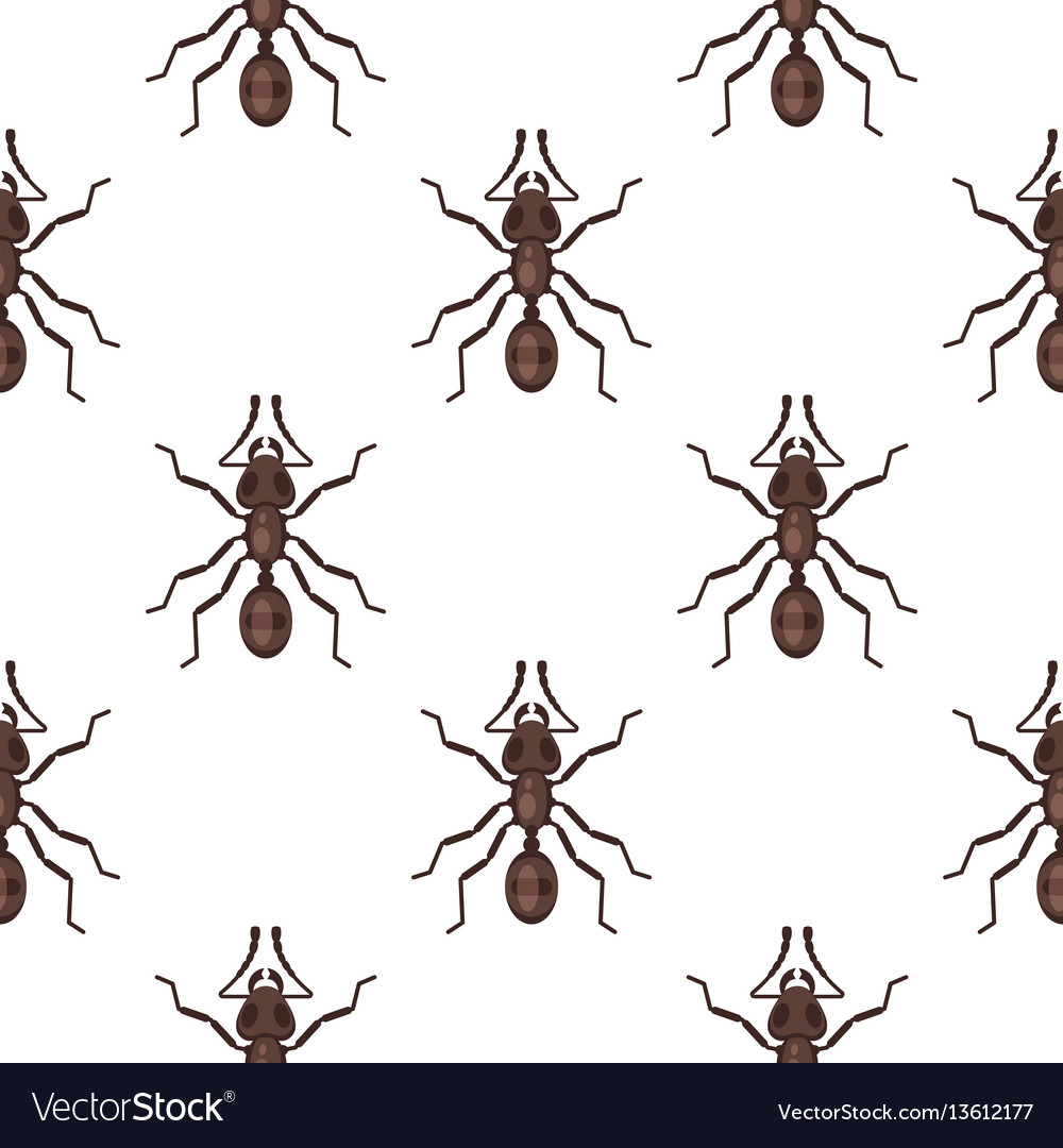 Flat style seamless pattern with ants