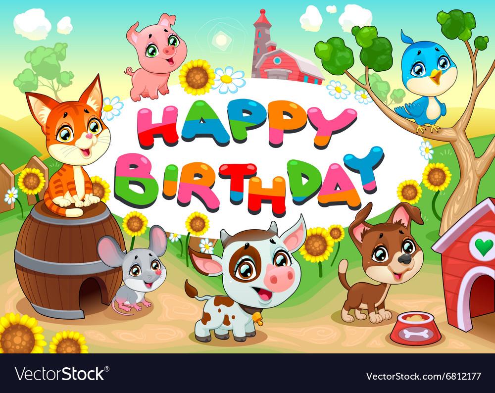 Happy Birthday Card With Farm Animals Cartoon Vector Image