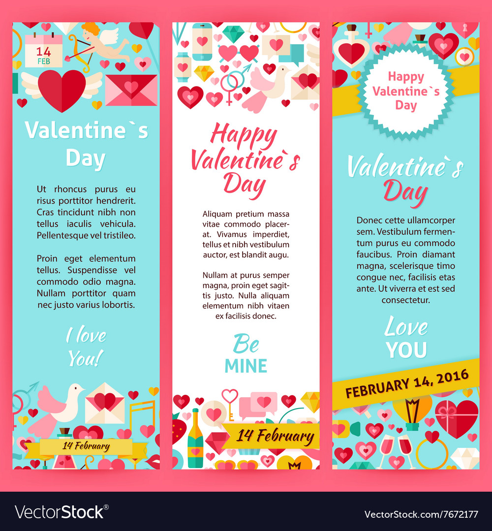 Happy Valentine Day Invitation Template Flyer Set Vector Image - Valentine's day invitation template