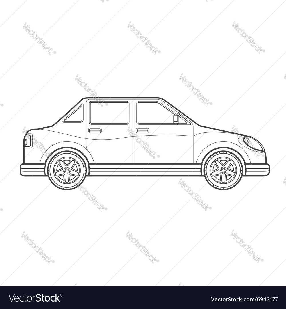 Outline saloon car body style icon
