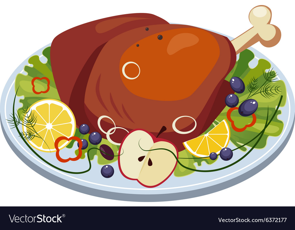 Roasted Turkey Ham with Vegetables and Apples on a vector image