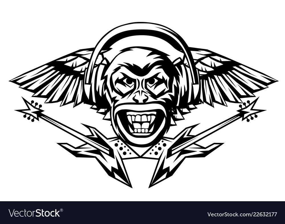 Rock and roll music print angry monkey head