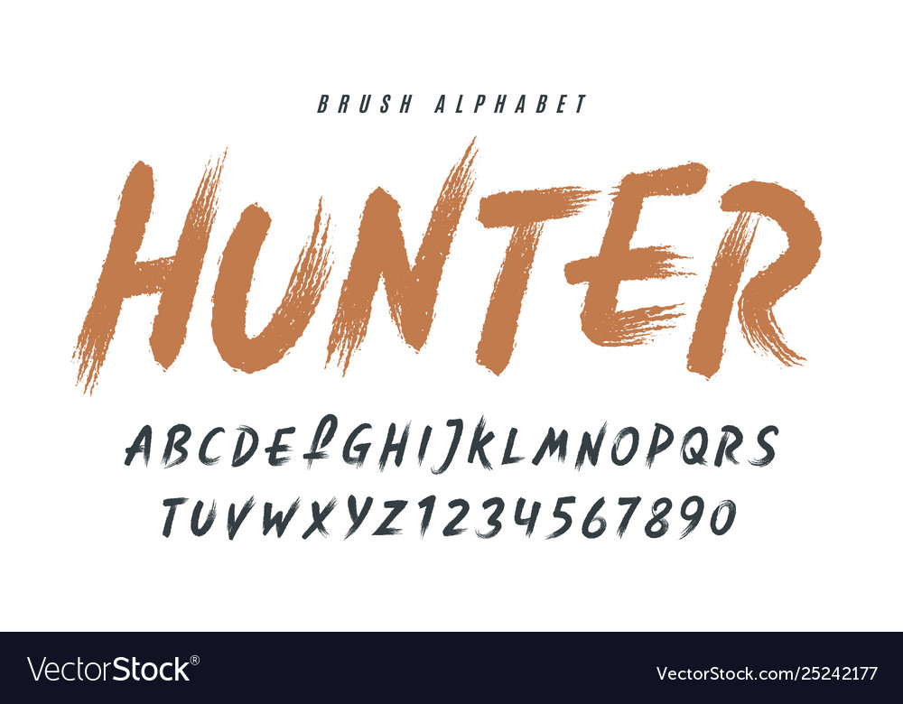 Stylish painted a brush uppercase vector