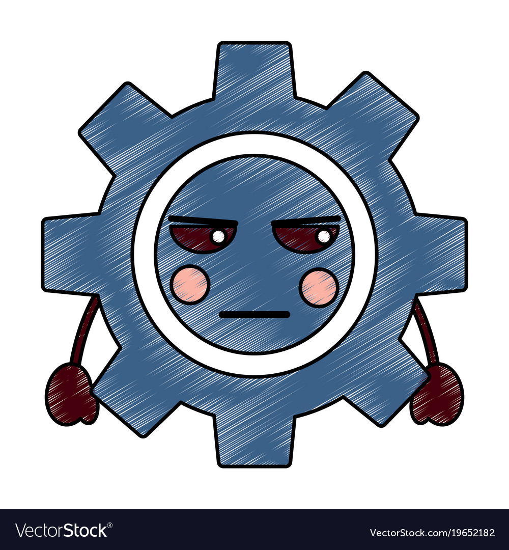 Angry gear kawaii icon image