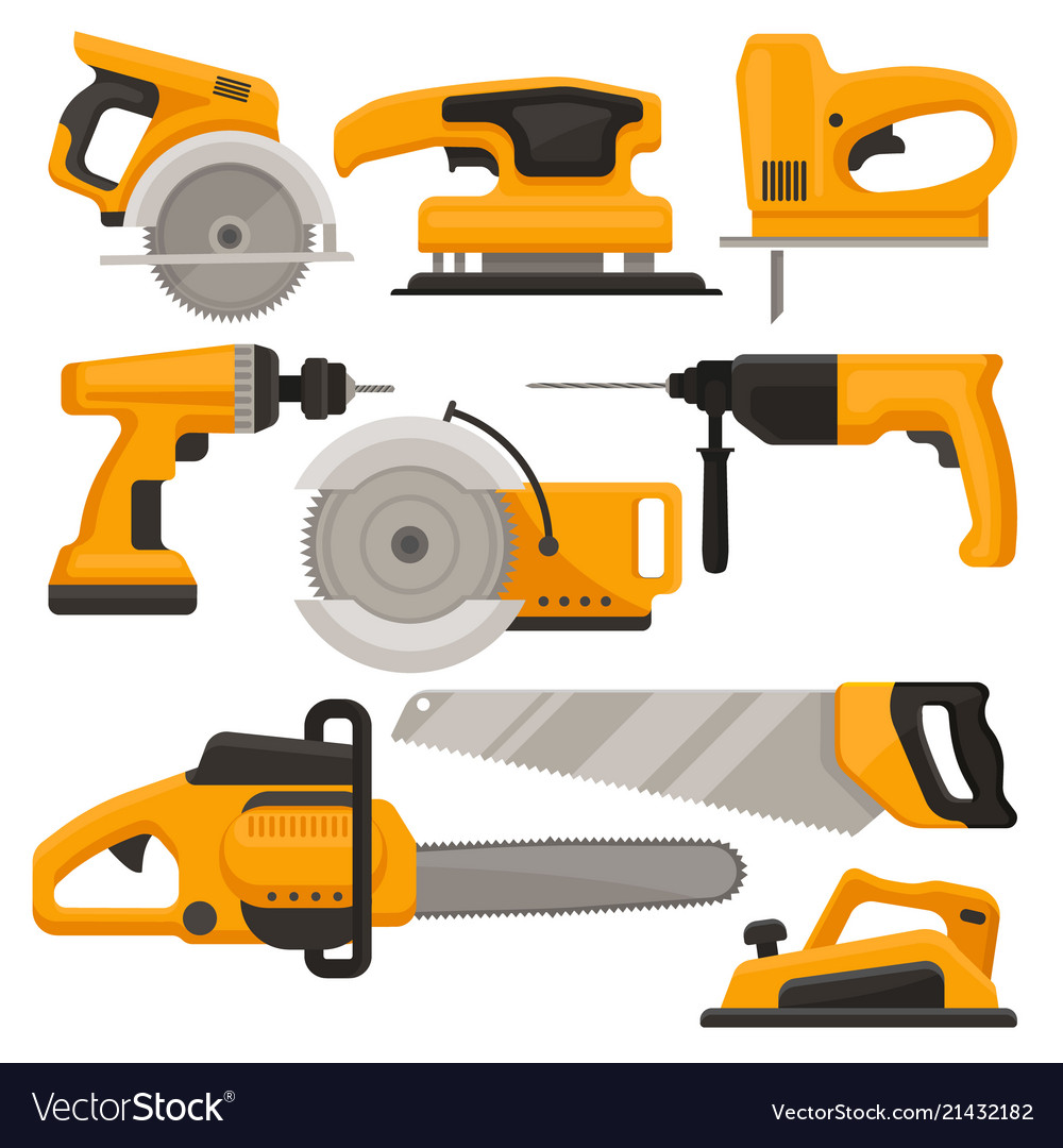 Flat set of construction tools different