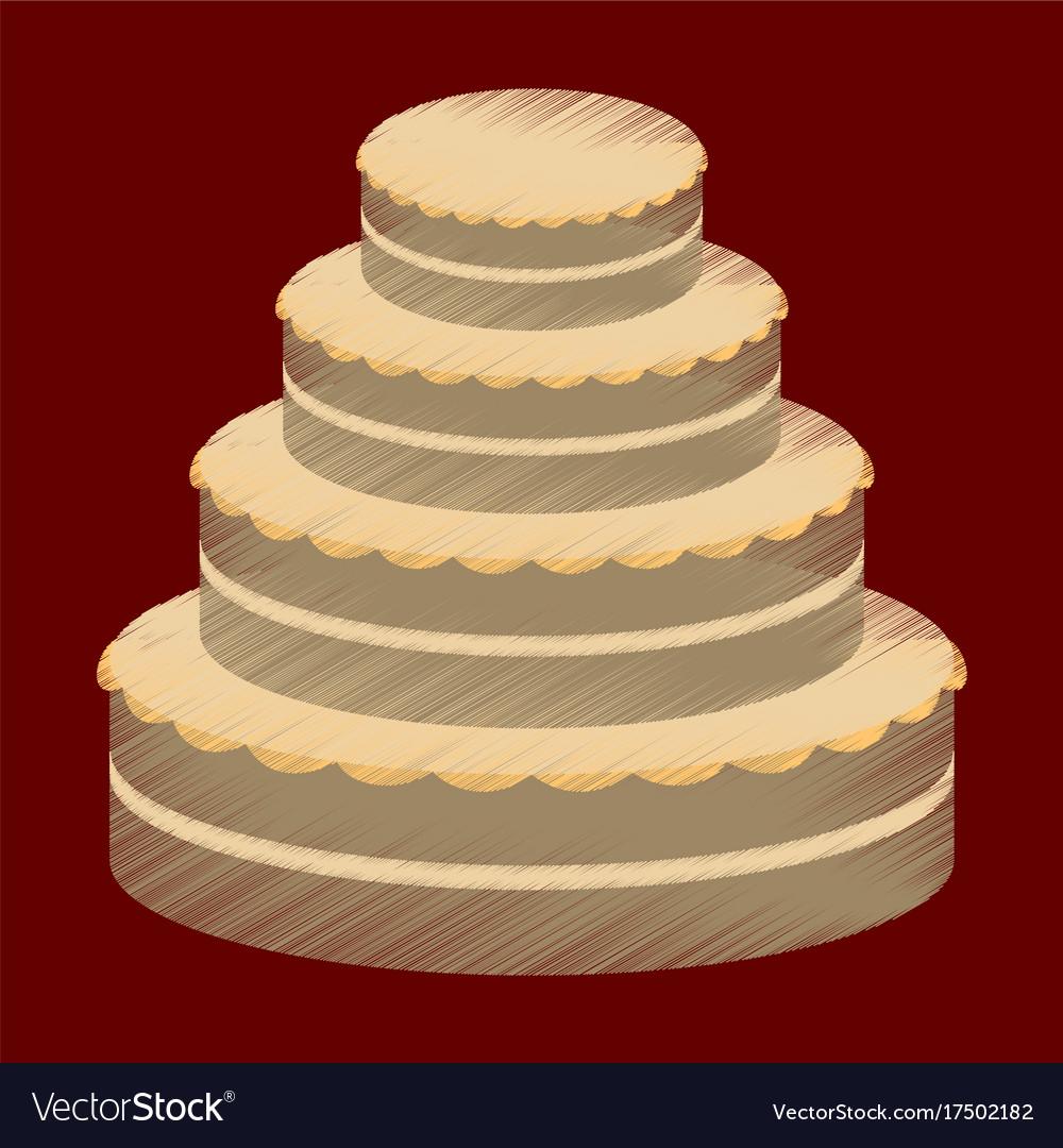 Flat shading style icon wedding cake Royalty Free Vector