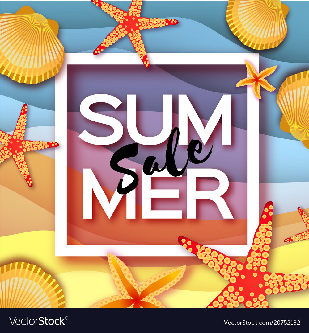 Origami Clam Mollusc Shells Summer Sale Exotic Vector Image