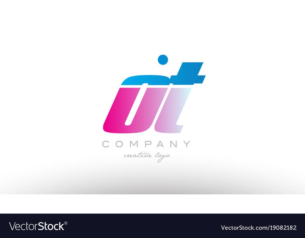Ot o t alphabet letter combination pink blue bold