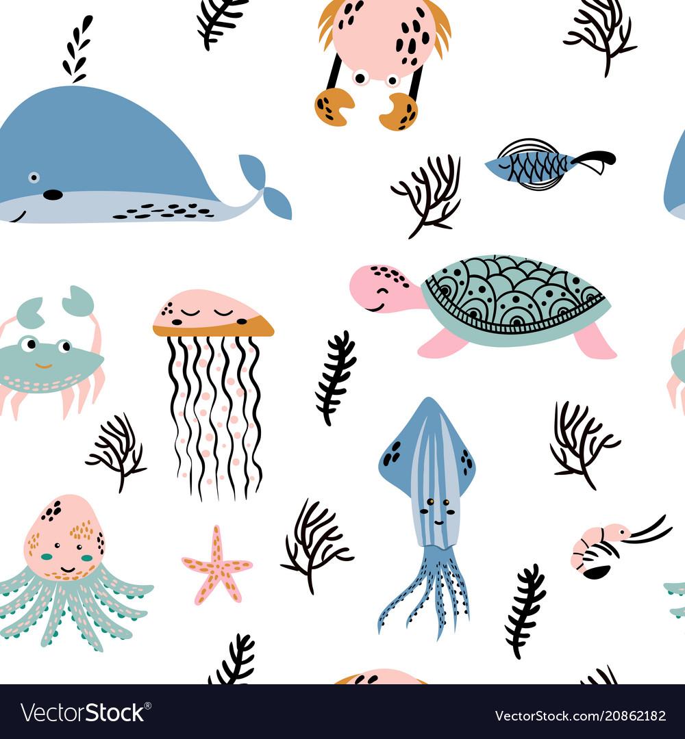 Sea life underwater world fish jellyfish sea