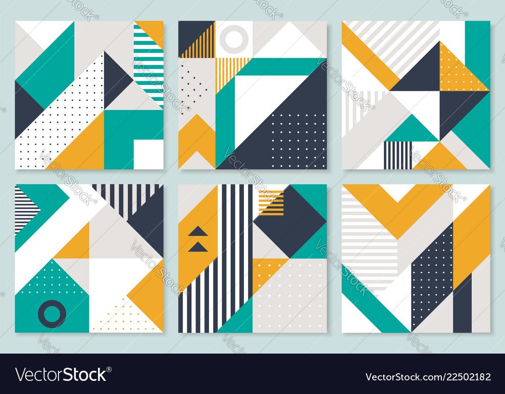 Set 6 placard with geometric bauhaus shapes