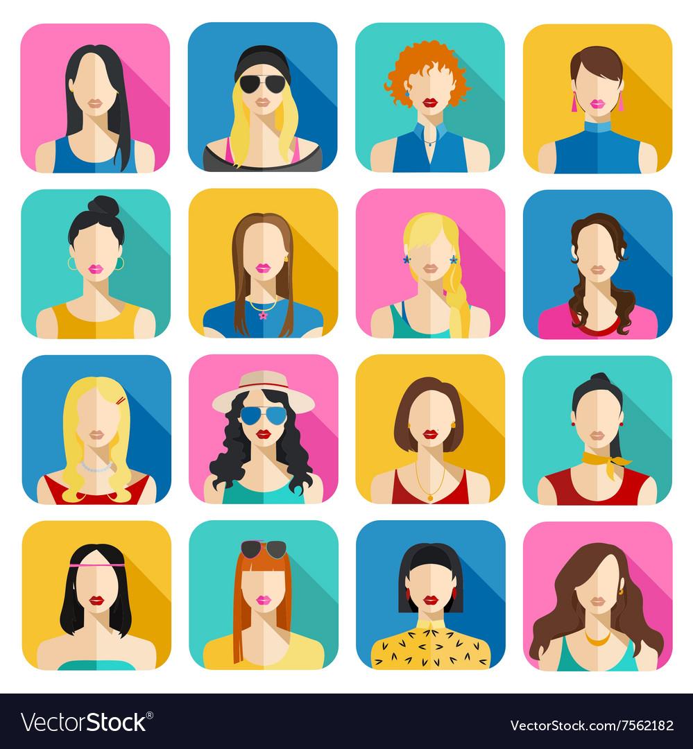 Set of Women Avatars Icons Colorful Female Faces