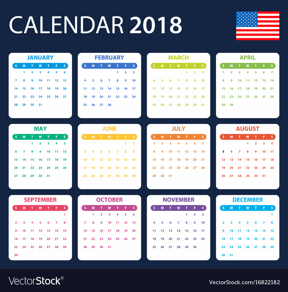Usa Calendar For 2018 Scheduler Agenda Or Diary Vector Image