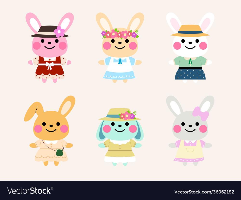 Vintage rabbit character set