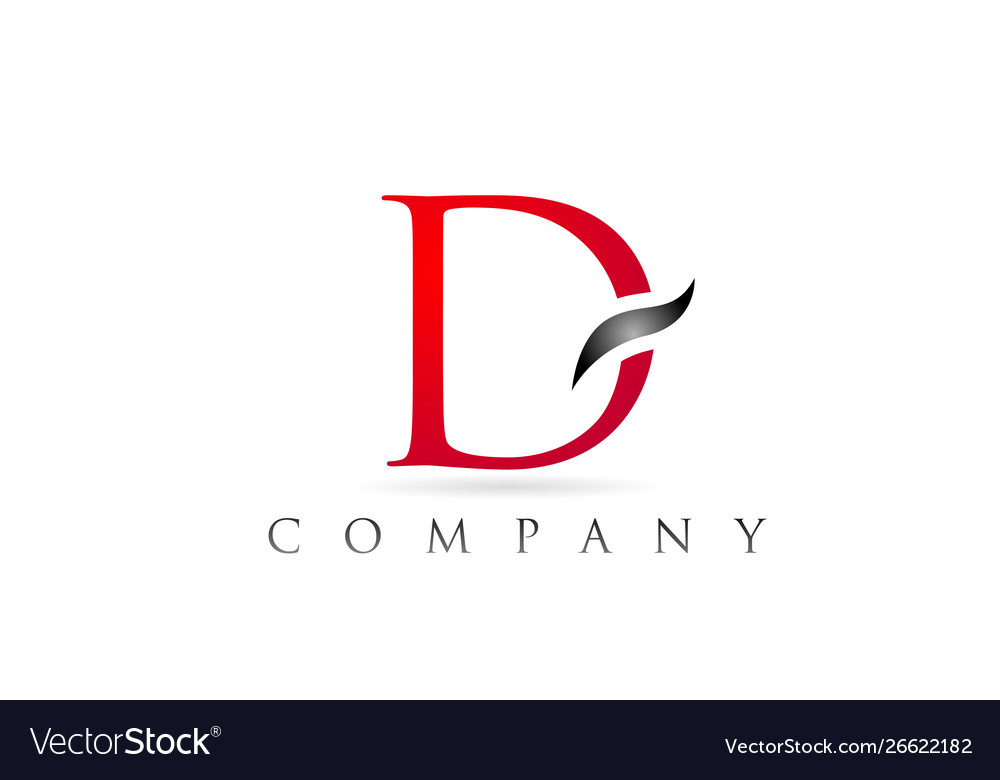 White Red Alphabet Letter D Logo Company Icon