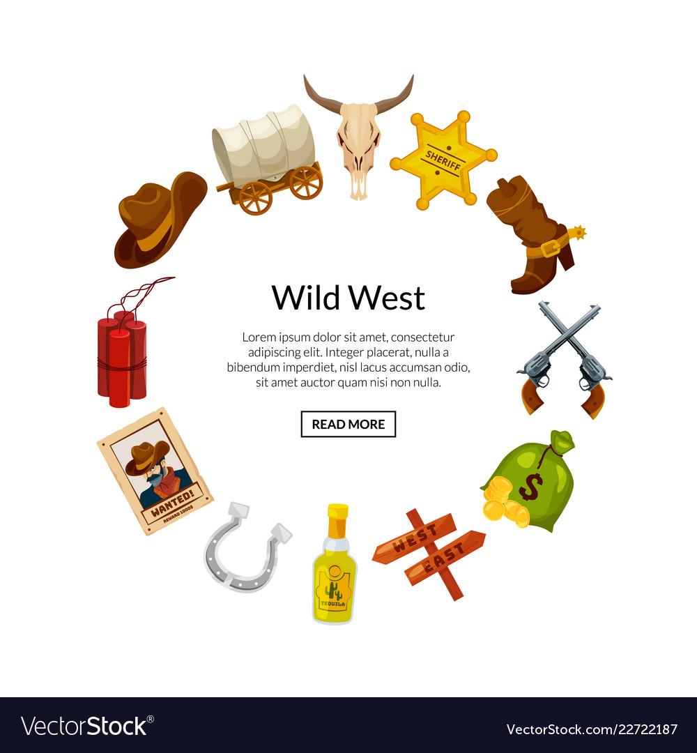 Cartoon wild west elements in circle shape