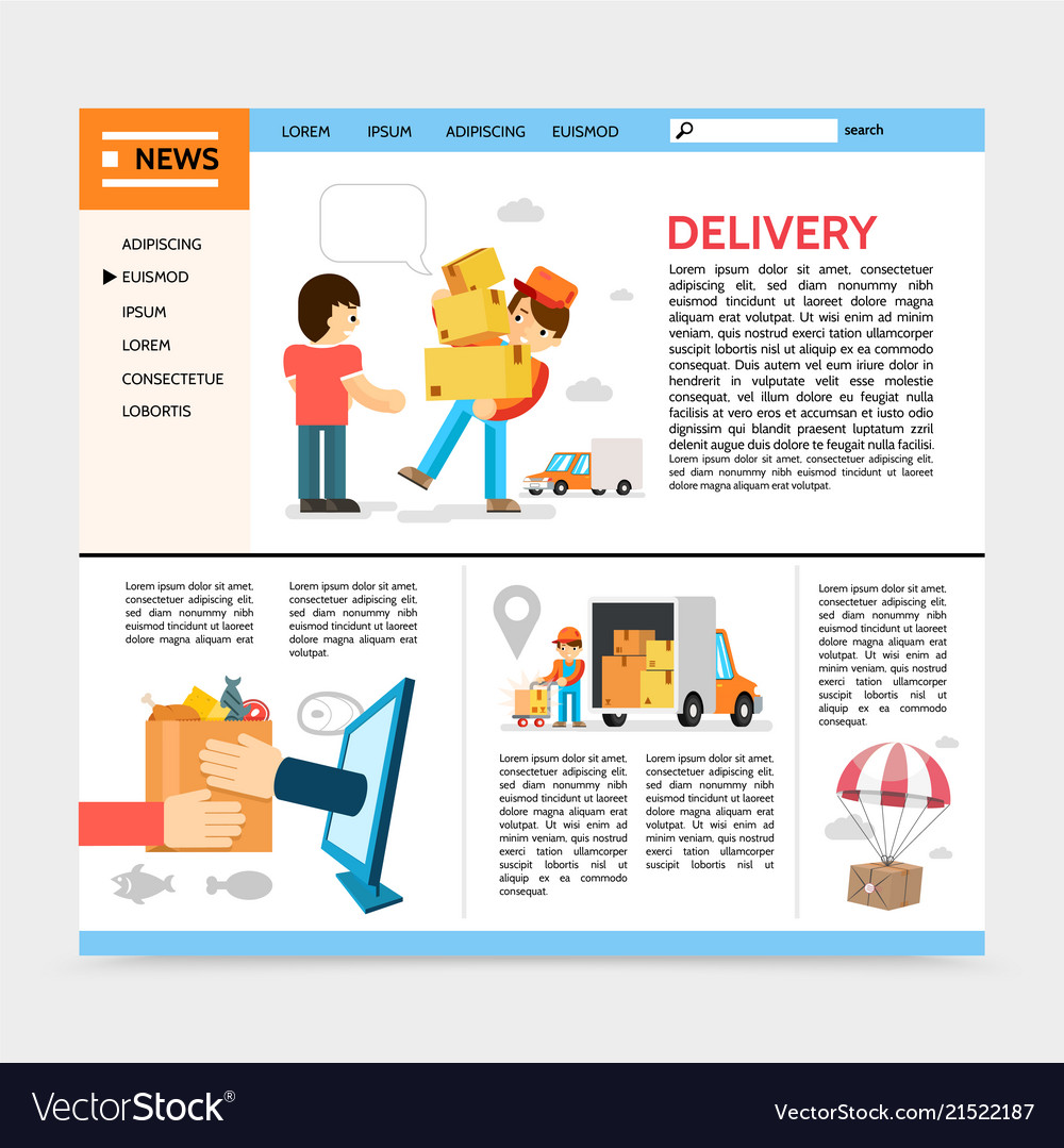 Flat Delivery Service Website Template Vector Image
