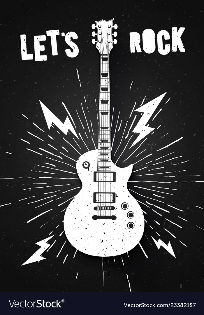 Lets rock music print graphic design with guitar