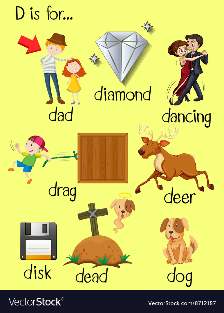 Letter D and different words for it Royalty Free Vector