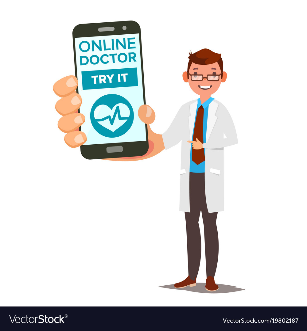 Online doctor mobile service man holding
