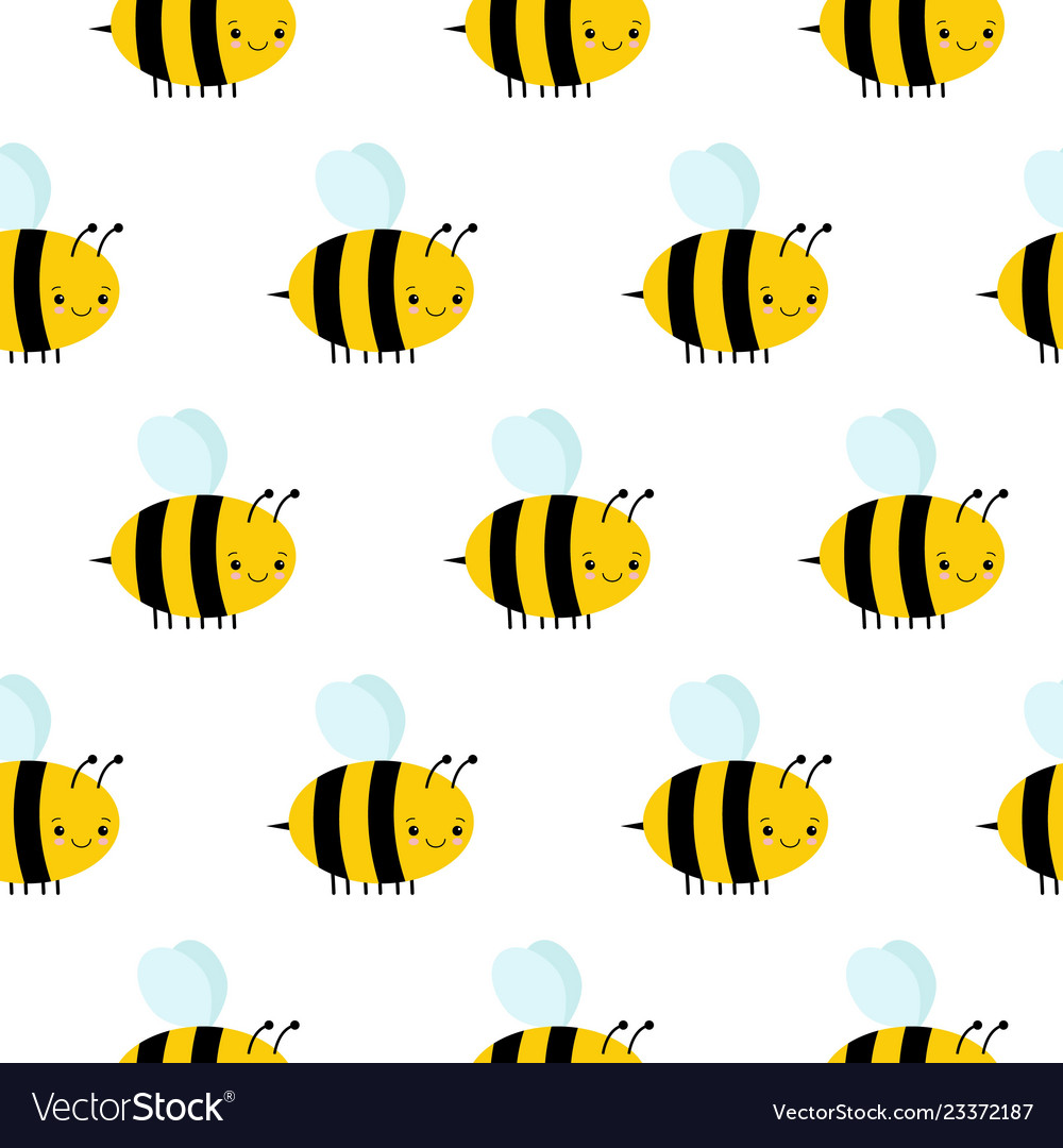 Seamless pattern with flying bees on a white