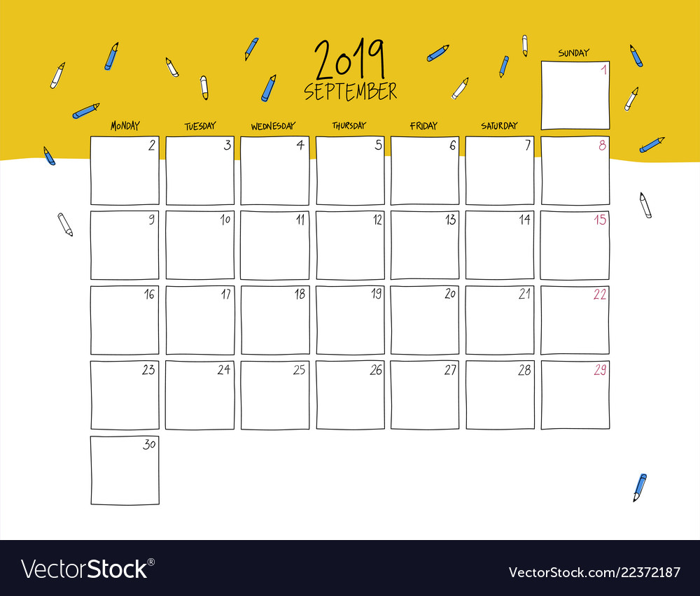 September Calendar.September 2019 Wall Calendar Doodle Style