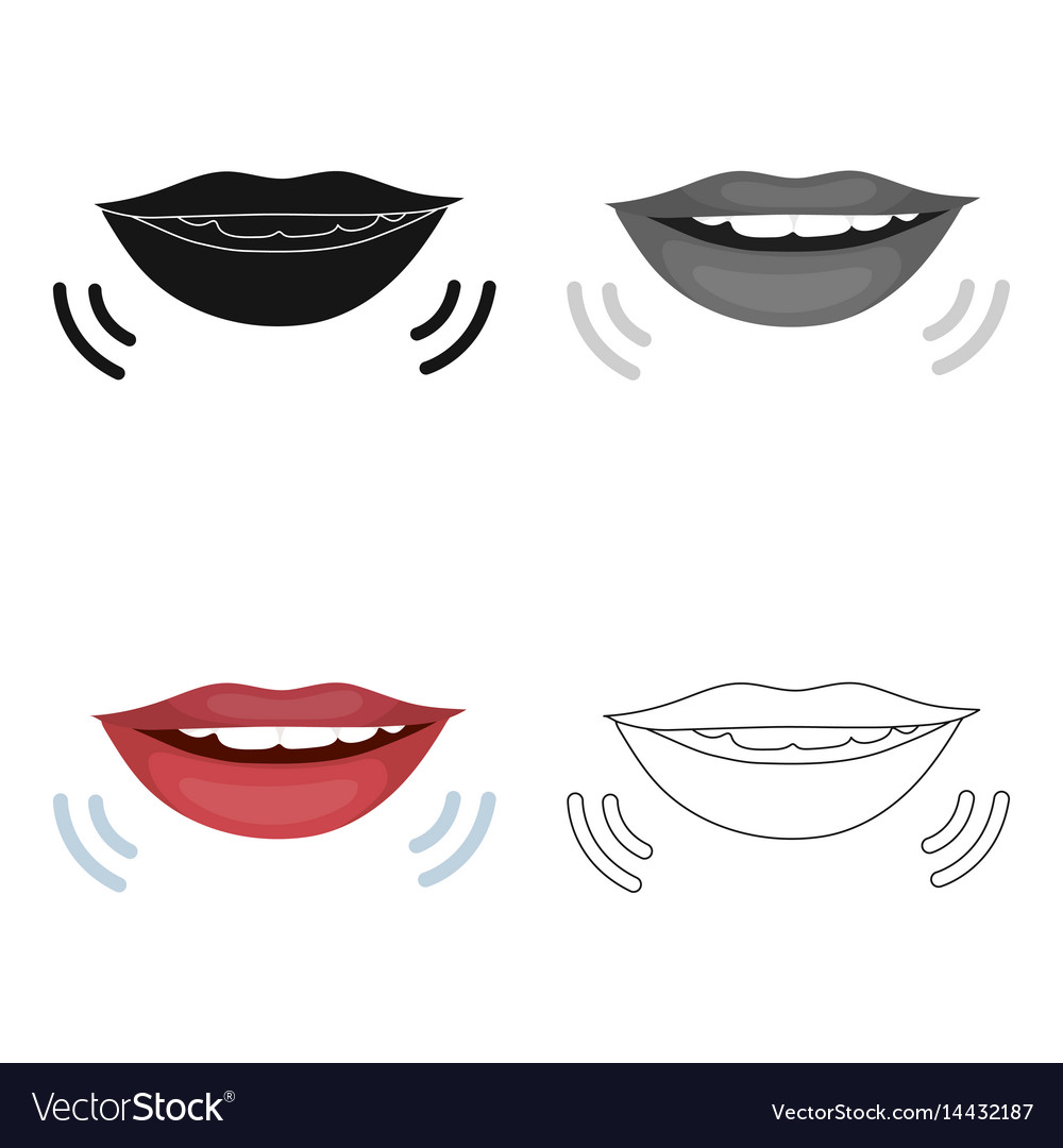 Speaking mouth icon in cartoon style isolated on