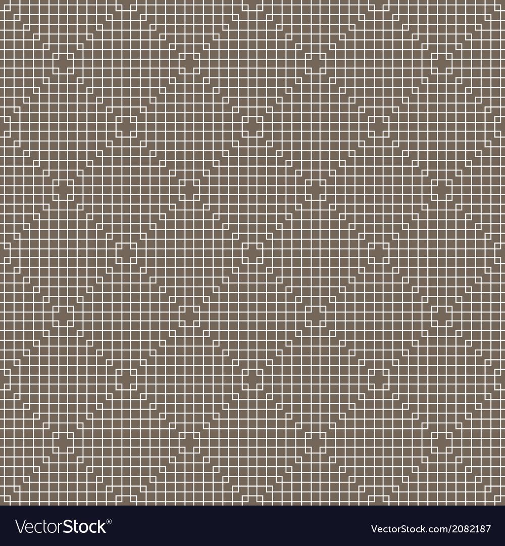 White Line Squares Seamless Pattern on dark vector image