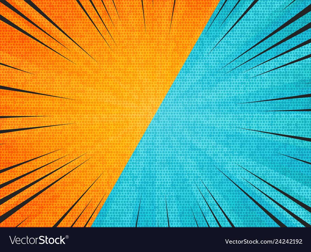 Abstract sun burst contrast orange blue colors