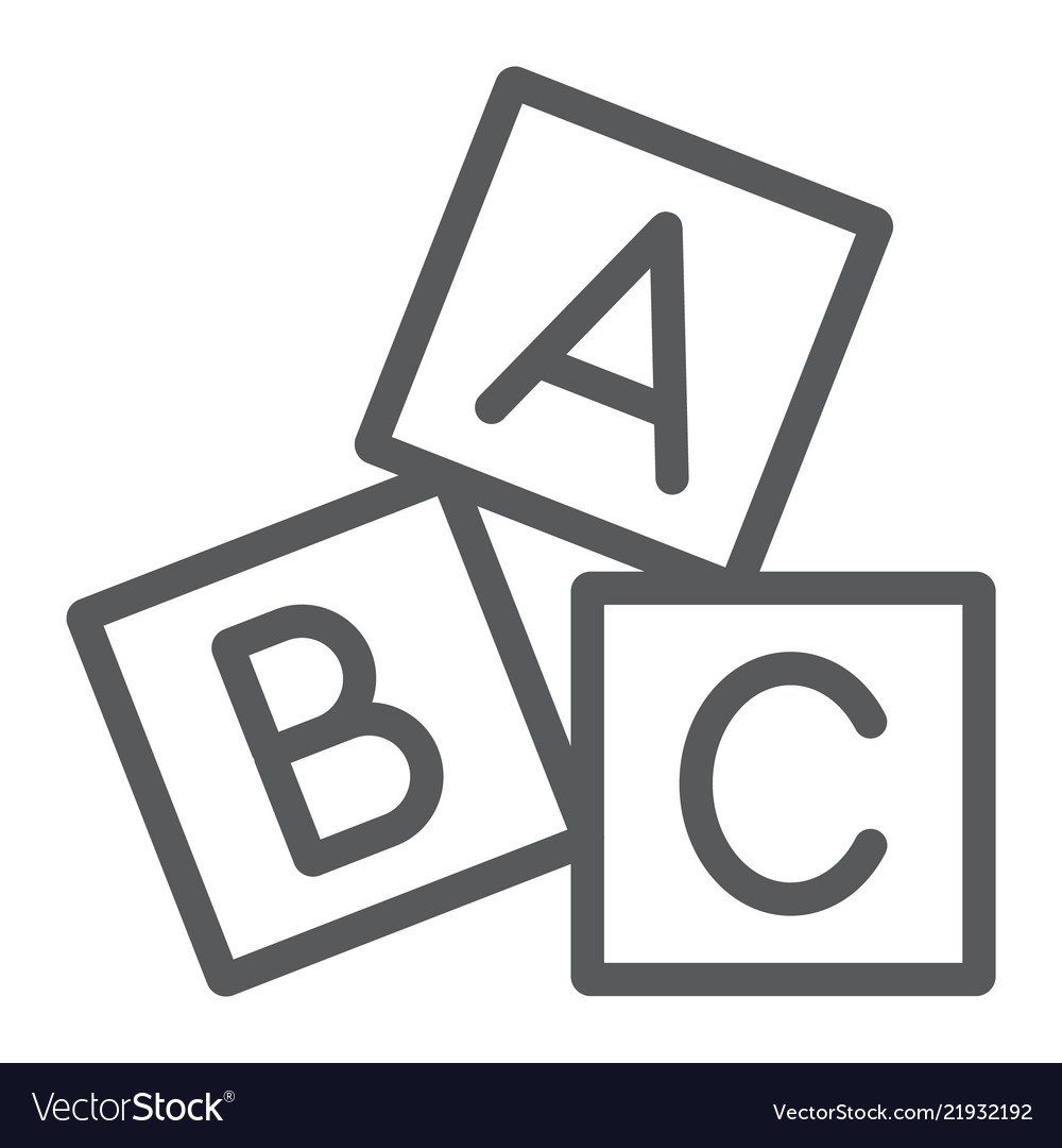 Alphabet cubes line icon abc and toy