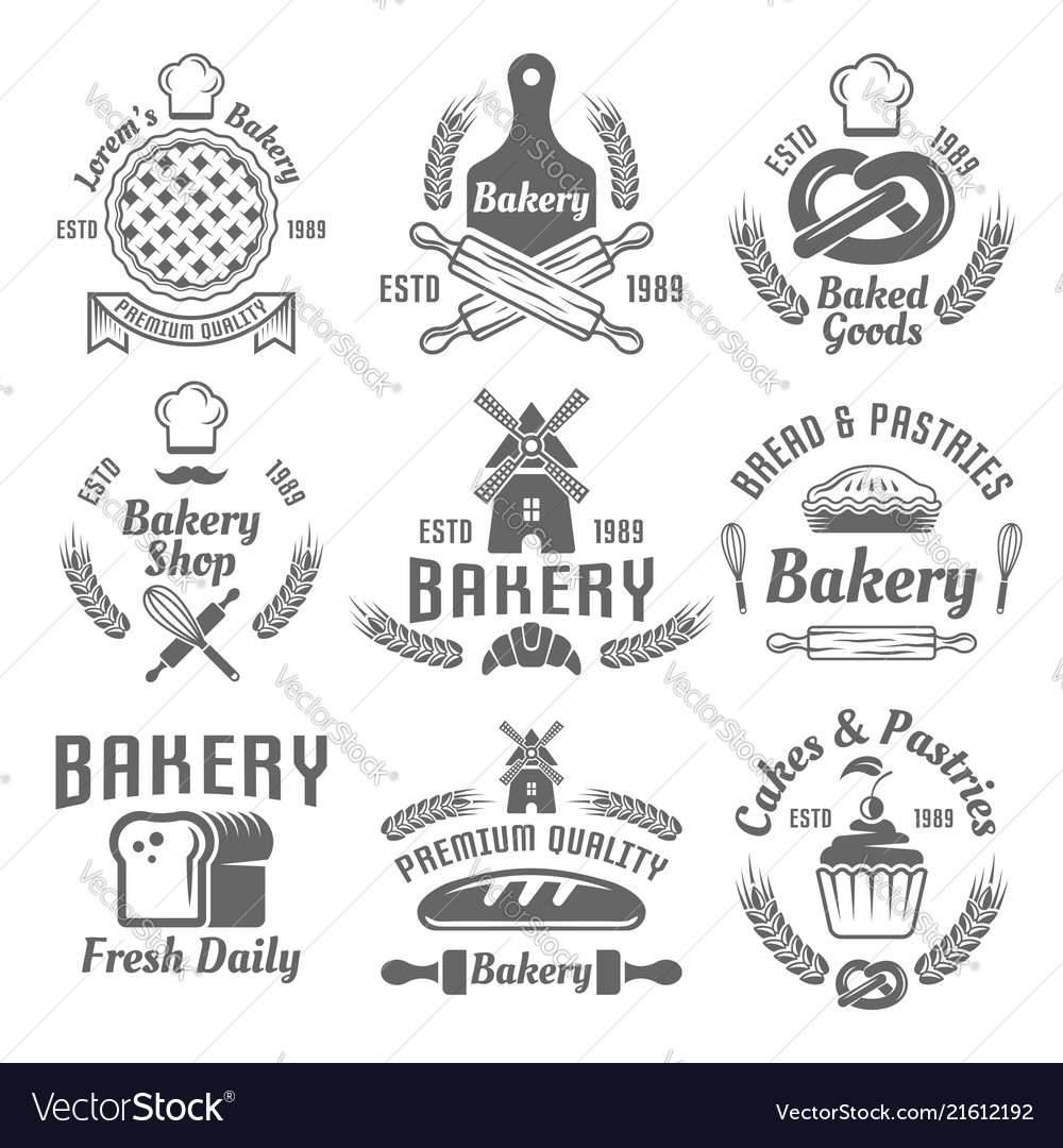Bakery and pastries monochrome emblems