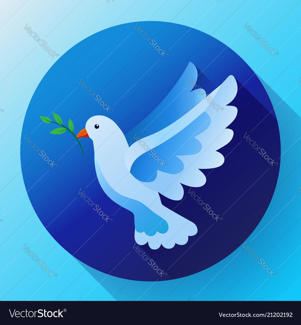 Blue dove with branch peace icon flying blue bird